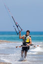 Avdimou cyprus uk july learning to kite surf in avidmou on unidentified man Stock Photography