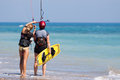 Avdimou cyprus uk july learning to kite surf in avidmou on unidentified women Royalty Free Stock Image