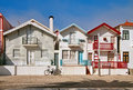 Aveiro bicycle in front of traditional beach houses costa nova portugal Royalty Free Stock Image