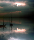 Aveiro boats reflection Royalty Free Stock Image