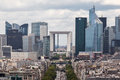Avenue de la grande armee and la defense paris the leading towards from the triumph arch in france Royalty Free Stock Photography