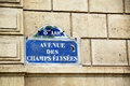 Avenue des champs élysées elysees eighth arrondissement street sign in paris Royalty Free Stock Image