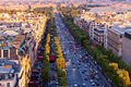 Avenue des champs elysees paris aerial view from triumphal arch on Stock Image