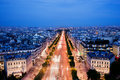 Avenue des champs elysees in paris france at night view on from arc de triomphe Stock Image