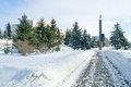 On the avenue of glory in a winter city park saransk landscape Royalty Free Stock Photo
