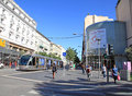 Avenue jean medecin in nice france may on may is the main artery of the commercial area of Royalty Free Stock Image