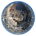 Avenues des champs elysees in paris little planet urban spherical view of france isolated on white background Stock Image