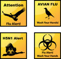Avian flu alerts icons set of vector Royalty Free Stock Images