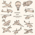 Aviation and aeronautics objects vector collection set Royalty Free Stock Photography