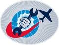 Aviation aircraft mechanic hand spanner Royalty Free Stock Photo