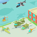 Aviation airport concept, cartoon style