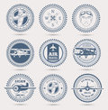 Aviation badges round retro set of nine eps Stock Images