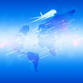 Aviation blue background global with planes and city names on a map Royalty Free Stock Image