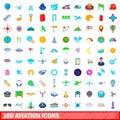 100 aviation icons set, cartoon style