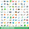 100 aviation icons set, isometric 3d style