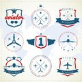 Aviation labels set of vintage Royalty Free Stock Photo