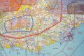 Aviation map overview of a flight of the uk Stock Photography