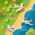 Aviation planes top view concept, cartoon style