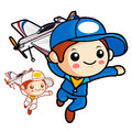 Aviation School Mascot run to be holding a model airplane. Work Royalty Free Stock Photo