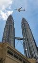 Aviation and Skyline at KLCC Kuala Lumpur Malaysia Royalty Free Stock Photo