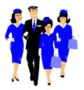Aviation team crew members from airline walking arm in arm over white Royalty Free Stock Image