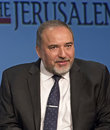 Avigdor lieberman israel s foreign minister and deputy prime minister attends the jerusalem post annual conference at the marriott Stock Photography