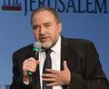 Avigdor lieberman israel s foreign minister and deputy prime minister attends the jerusalem post annual conference at the marriott Royalty Free Stock Photography