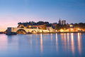 Avignon Bridge with Popes Palace and Rhone river at dawn Royalty Free Stock Photo