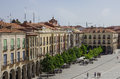 Avila, Spain - August 23, 2012:  View of buildings on Plaza Sant Royalty Free Stock Photo