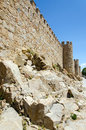 Avila wall city with mother rock and deep blue sky Royalty Free Stock Photography