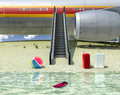 Avion de passagers et plage Photo stock