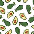 Avocado tropical fruit seamless pattern