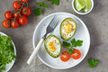 Avocado baked with eggs