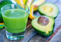 Avocado drink in glass and on a table Royalty Free Stock Images