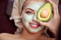 Avocado facial mask Royalty Free Stock Photo