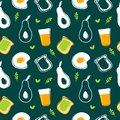 Avocado,fried egg,toast and juice seamless pattern