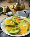 Avocado and orange salad with Royalty Free Stock Photography