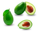 Avocado pieces ripe and half on white background Stock Image