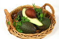Avocado Quarter In A Basket Royalty Free Stock Photo