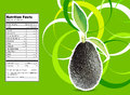 Avocados creative design for with leaves and nutrition facts label Royalty Free Stock Images