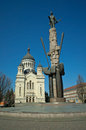 Avram iancu monument and orthodox cathedral cluj the landmark of the eponymous square in downtown napoca romania of feleacu Royalty Free Stock Photos