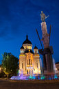 Avram iancu monument and orthodox cathedral cluj the statue of surrounded by a fountain moat in napoca romania of feleacu vadu Royalty Free Stock Photography
