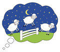 Awake at night. Counting sheep. Insomnia illustration dream bubble. Royalty Free Stock Photo