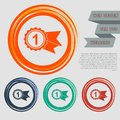 Award, badge with ribbons icon on the red, blue, green, orange buttons for your website and design space text.