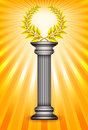Award column with golden winner laurel wreath Royalty Free Stock Images