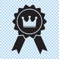 Award with crown and ribbon icon. Best choice symbol. Vector illustration.