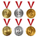 Award medals  Gold, silver and bronze seals or medals Royalty Free Stock Photo