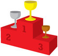 Award podium illustration of red with prizes Royalty Free Stock Images