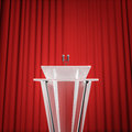 Award press conference d render of podium with microphones and curtain background Stock Image