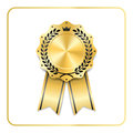 Award ribbon gold icon laurel wreath crown